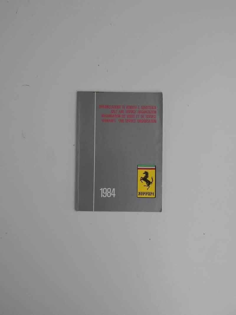 Ferrari 1984 Dealer Directory 288 308 QV Mondial, Testarossa