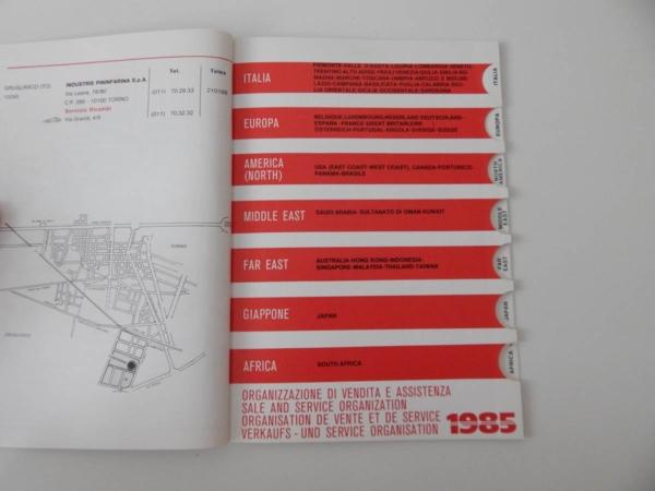 1985 Ferrari Dealer Directory 308 QV 288 GTO Mondial Testarossa