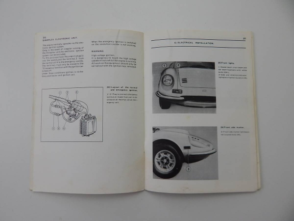 Ferrari 246 Dino USA Additional Instructions Supplement Manual