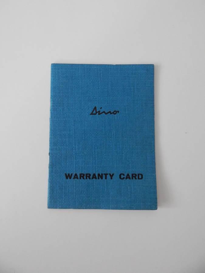 Ferrari 246 Dino GTS Warranty Card