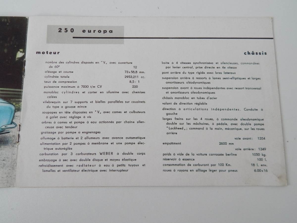 Ferrari 250 Europa 500 Mondial 750 Monza Sales Brochure