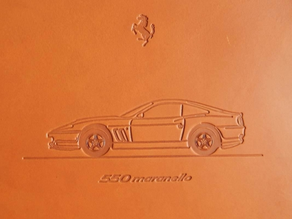 Ferrari 550 Maranello Schedoni Leather Plaque/Card