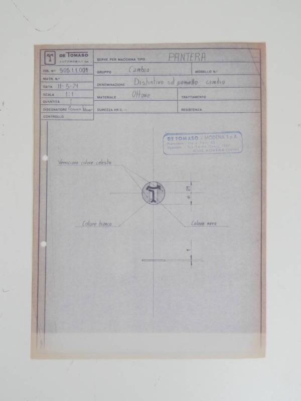 DeTomaso Pantera Gear Knob Blueprint