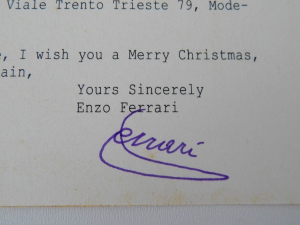Enzo Ferrari Signed Greeting Card Postcard