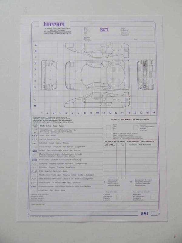 Ferrari F40 Repair Sheet