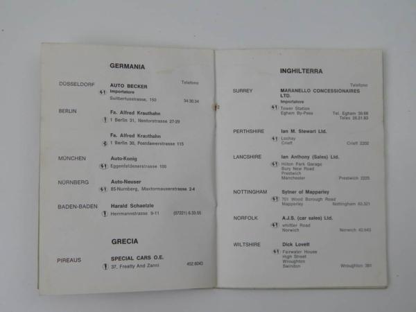 Ferrari 1972 Dealer Directory