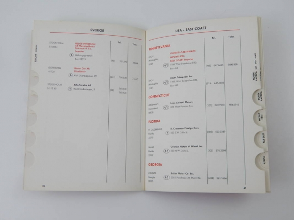"Ferrari 1975 Dealer Directory ""Servizi Vendita E Assistenza"" 365 308"