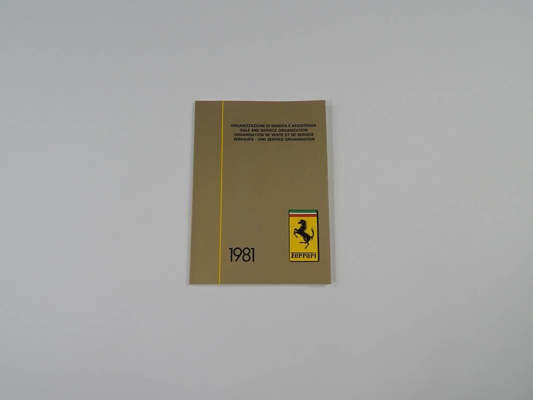 "Ferrari 1981 Dealer Directory ""Servizi Vendita E Assistenza"" 208 308 400 Mondial"