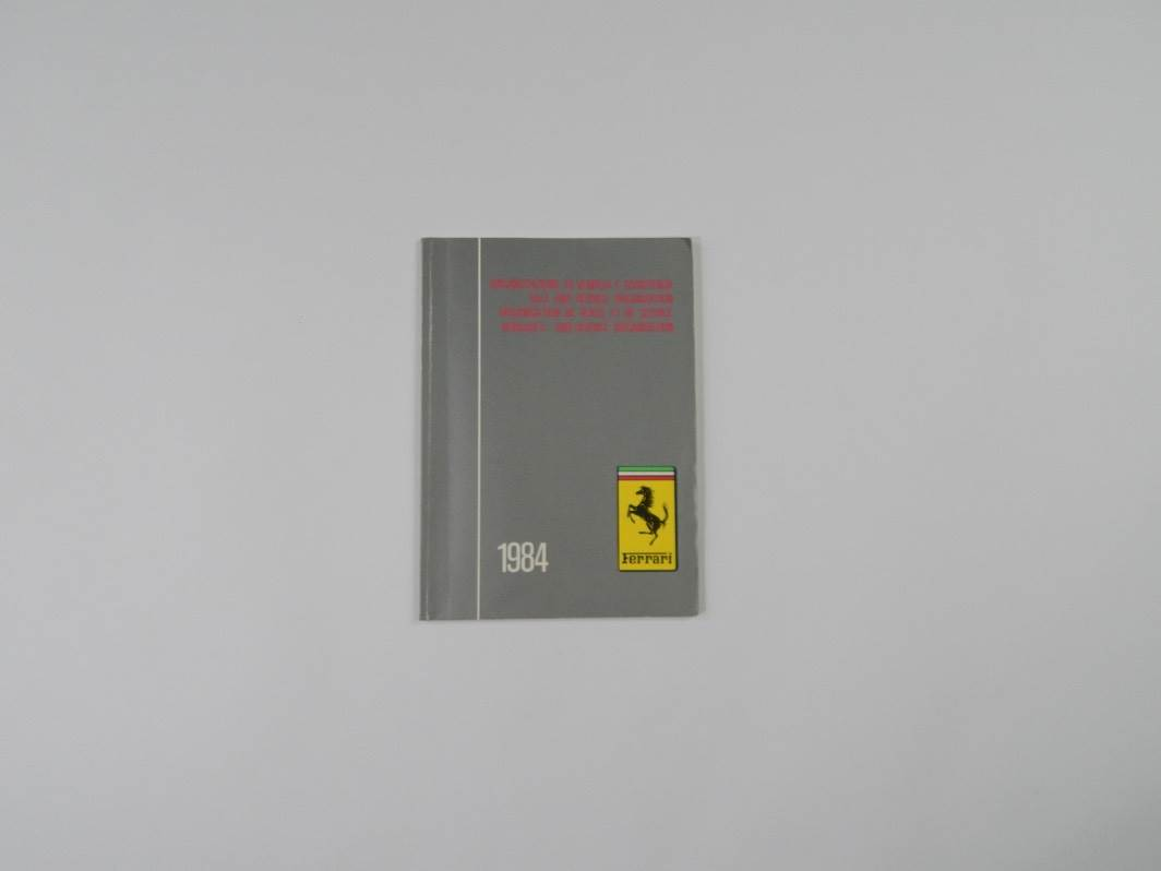 "Ferrari 1984 Dealer Directory ""Servizi Vendita E Assistenza"" 288 308 QV Mondial"