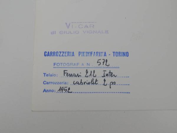 Ferrari 212 Inter Cabriolet Press Photograph