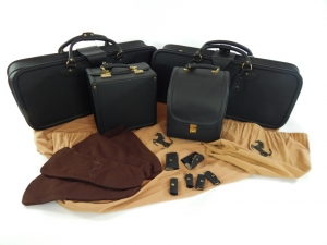 Ferrari 308 328 Schedoni Leather Luggage Set Black