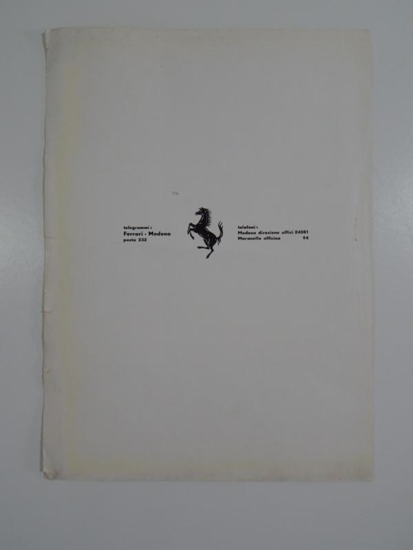 Rare 1950s Ferrari 500 Mondial Scheda di Omologazione Homologation Sheet
