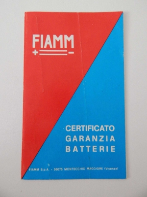 Fiamm Battery Guarantee Warranty Card
