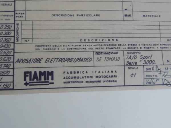 Ferrari FIAMM Serie 3000 Horn Set Blueprint